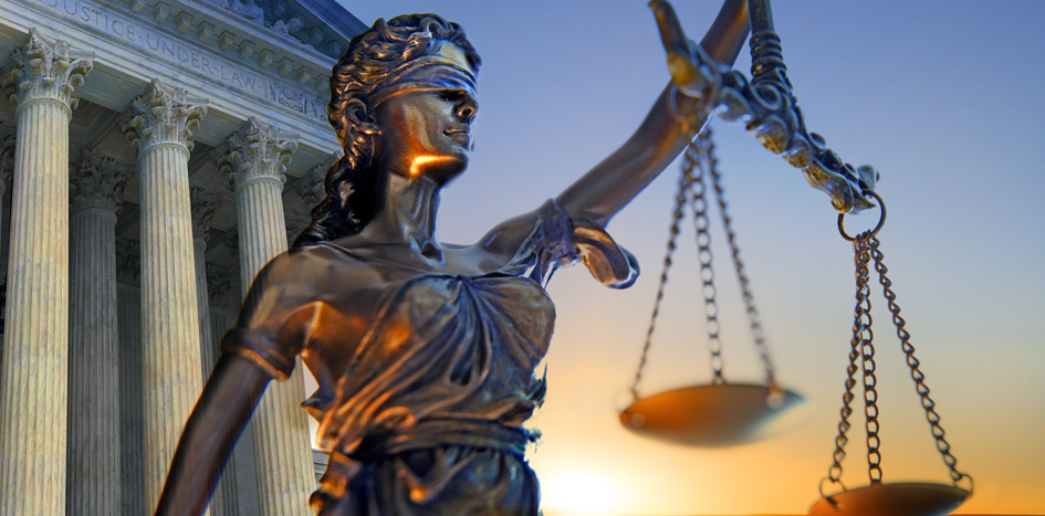 Lady justice and court of law for liability claims