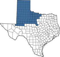 Texas map of Jesse's territory (Panhandle area)