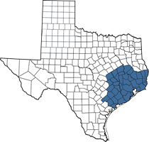 Texas map of Ryan's territory (Houston area)