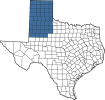 Texas map of Elizabeth's territory (Panhandle area)